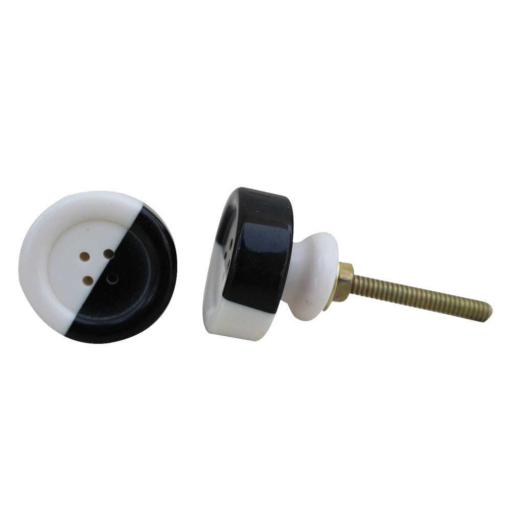 Black and White Button Resin Knob