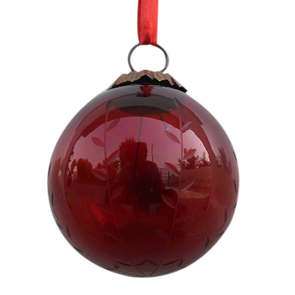 Blood Red Plum Leaf Cut Christmas Hanging-2