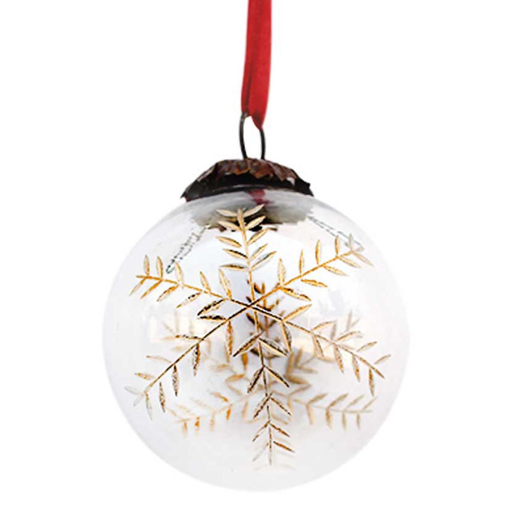 Clear Plum Golden Leaf Christmas Hanging-1