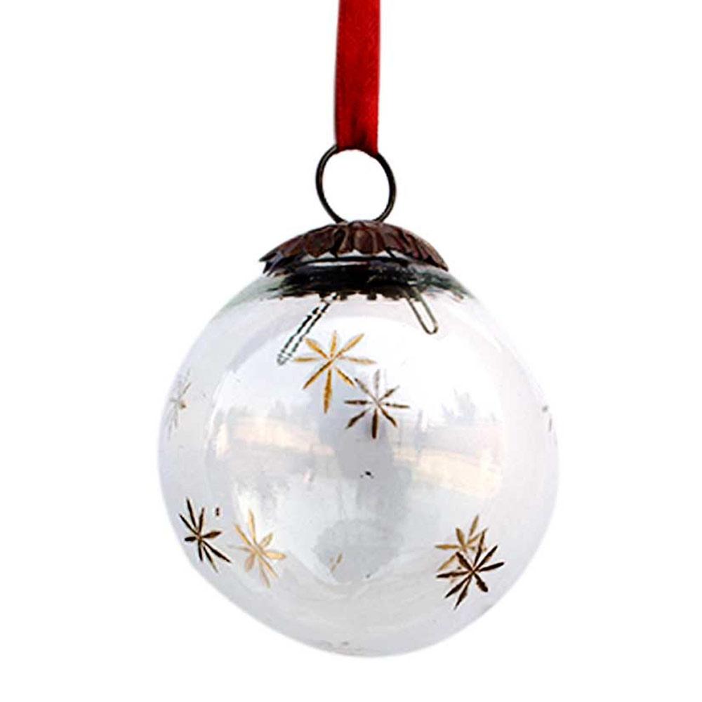 Clear Plum Golden Star Cut Christmas Hanging