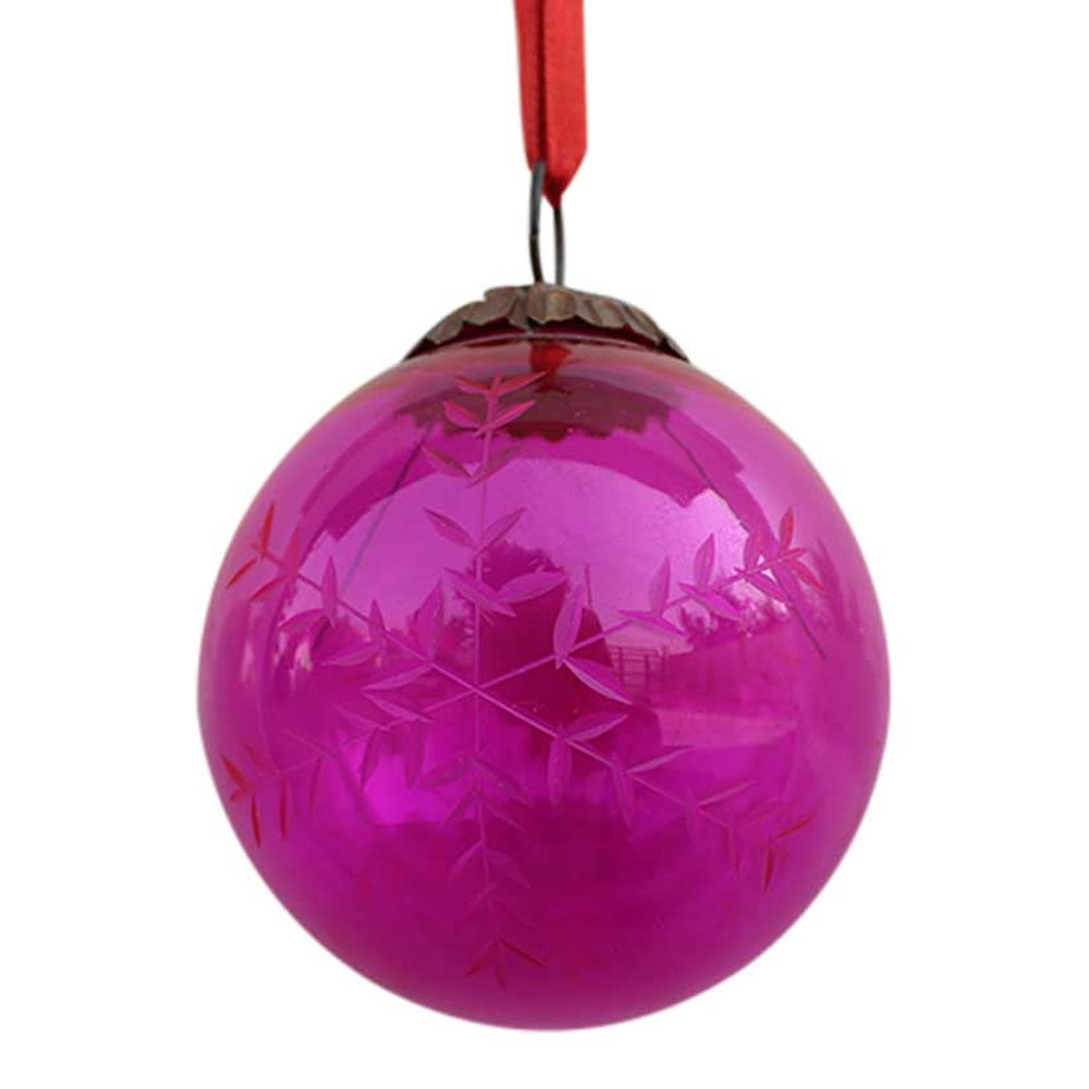 Queen Pink Plum Leaf Cut Christmas Hanging-2