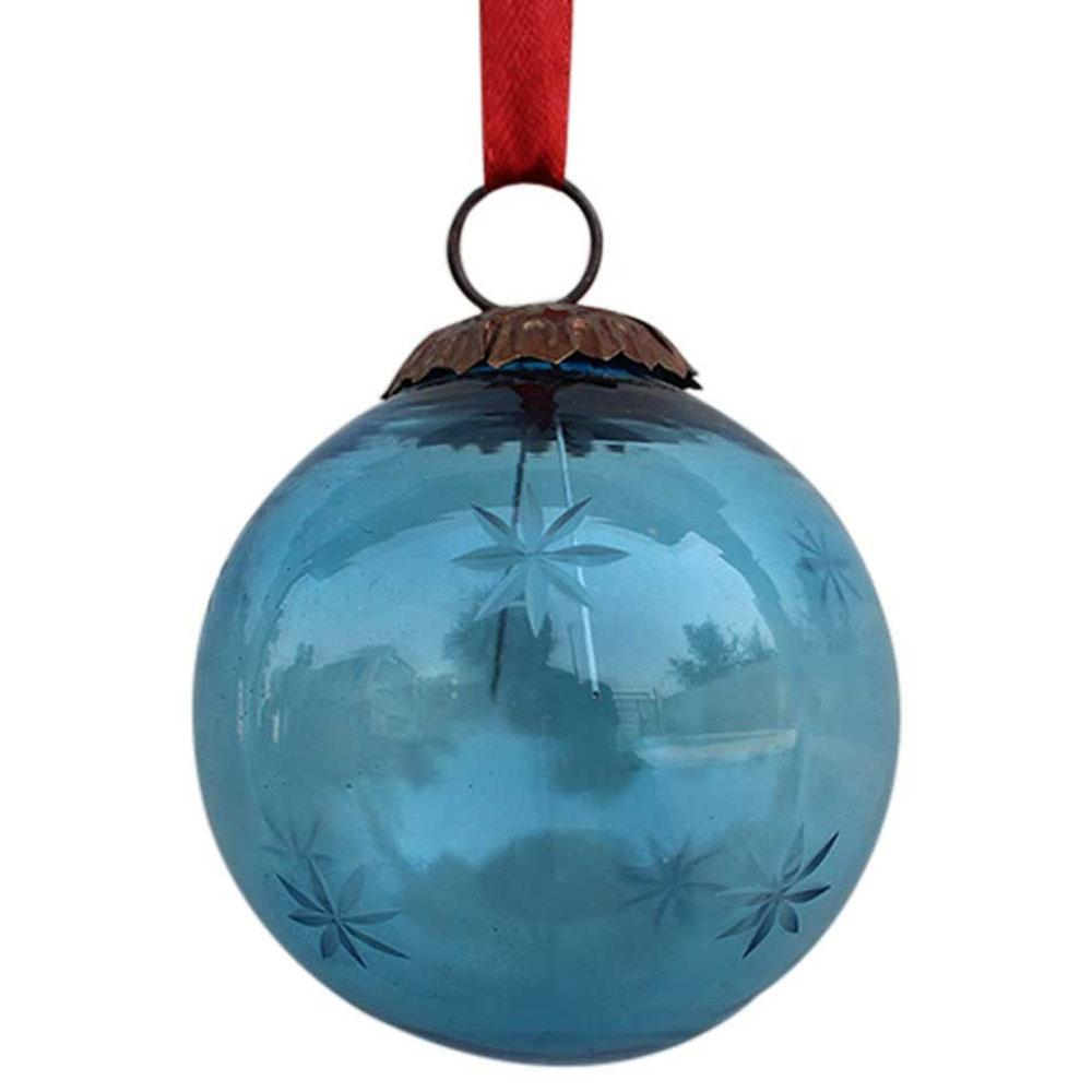 Turquoise Plum Star Cut Christmas Hanging