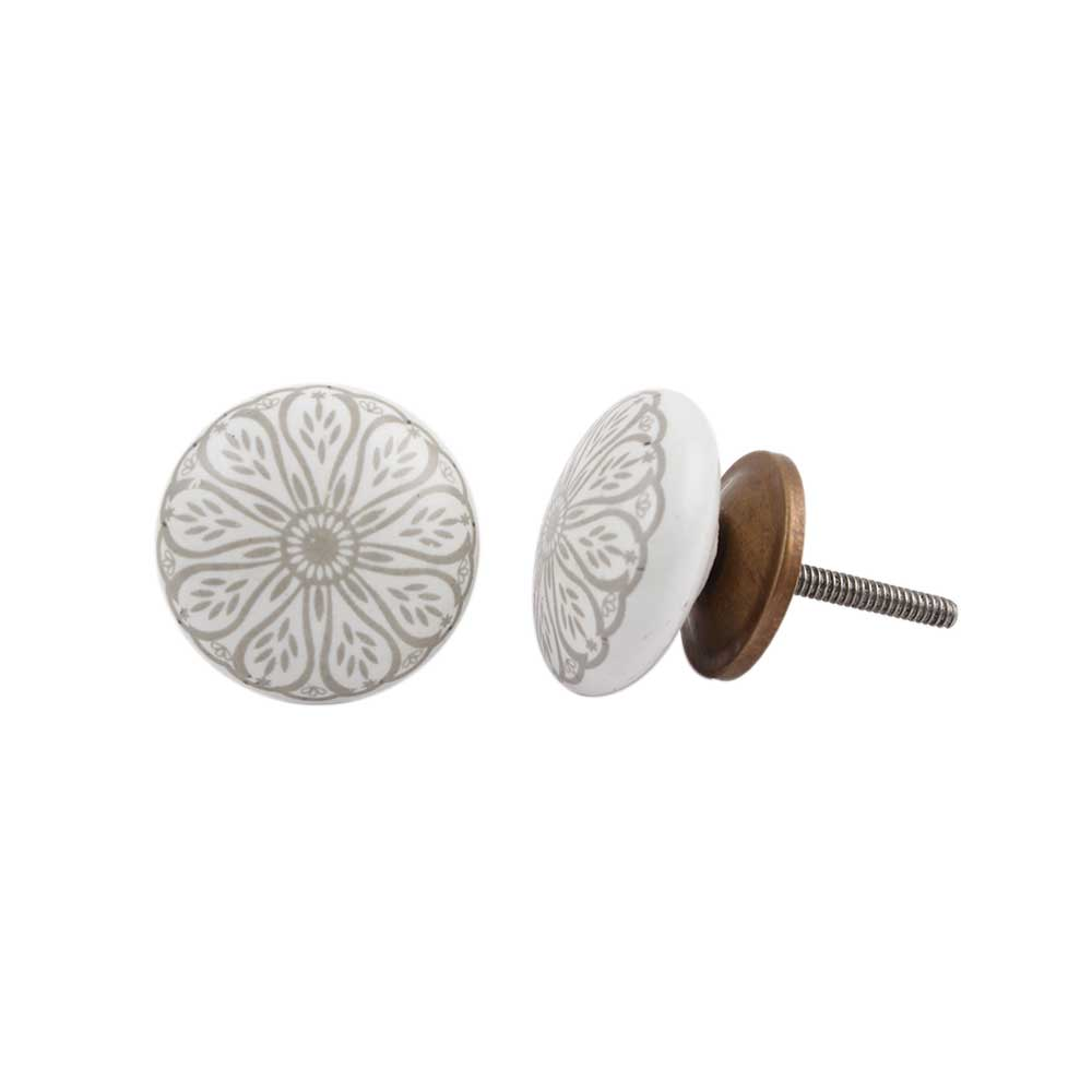 Grey Daisy Flower Flat Ceramic Knob
