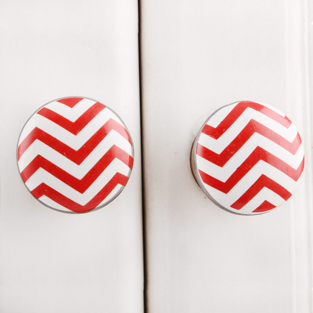 Red Striped Flat Ceramic Knob