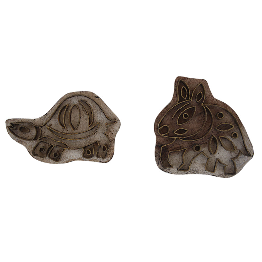 Set of 2 Piece Animal Super Fine Wooden Printing Block
