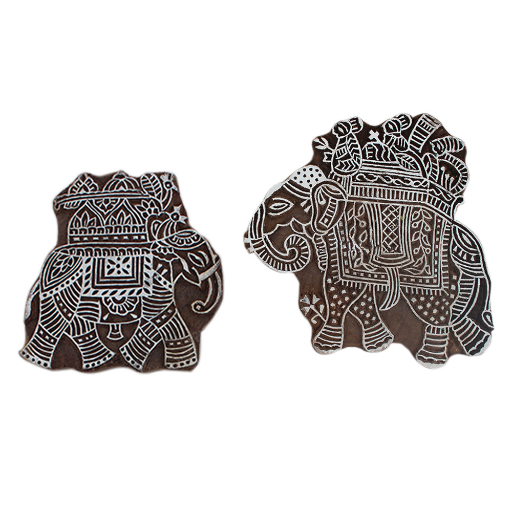 Set of 2 Piece New Elephant Wooden Printing Block