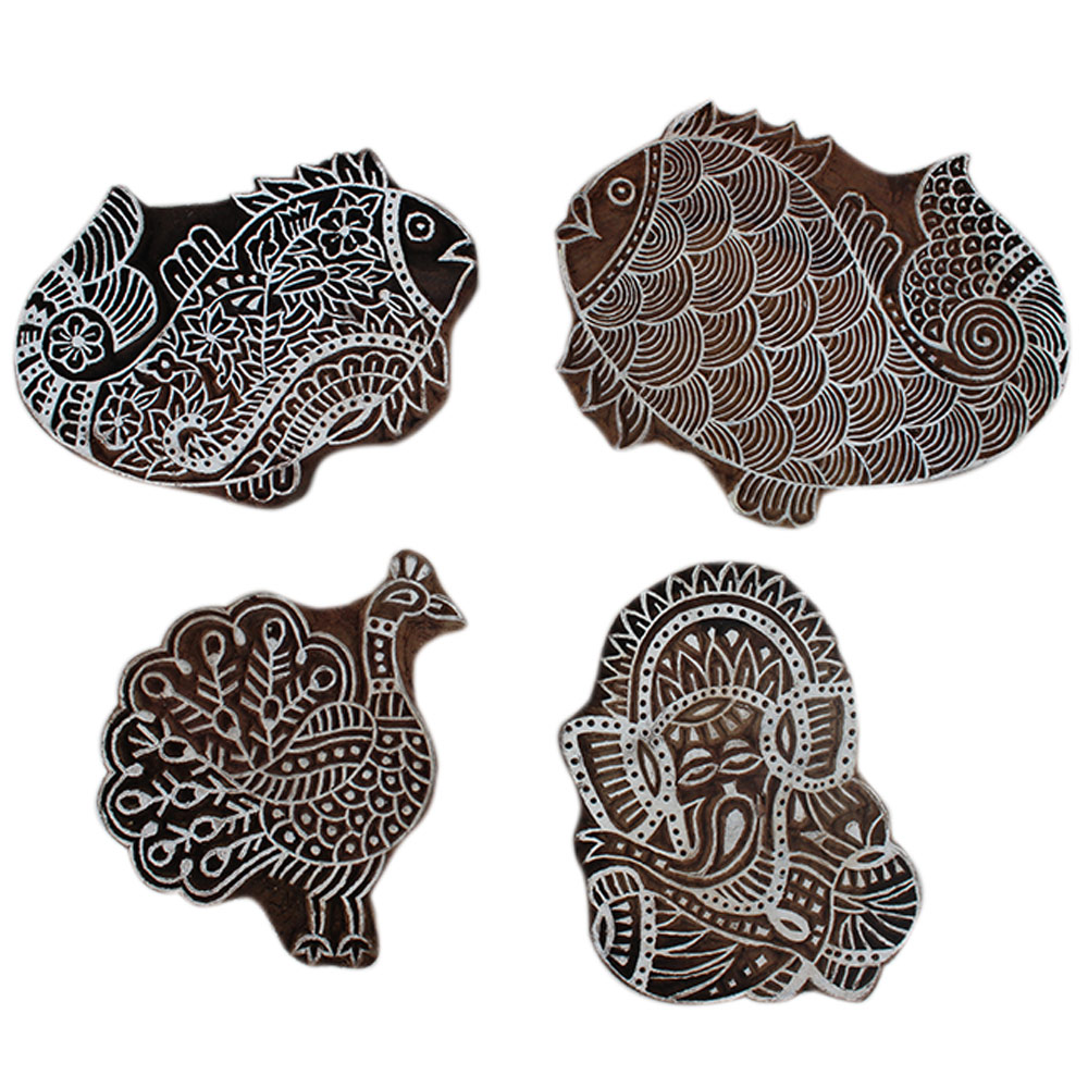 Set of 4 Piece New Wooden Printing Block
