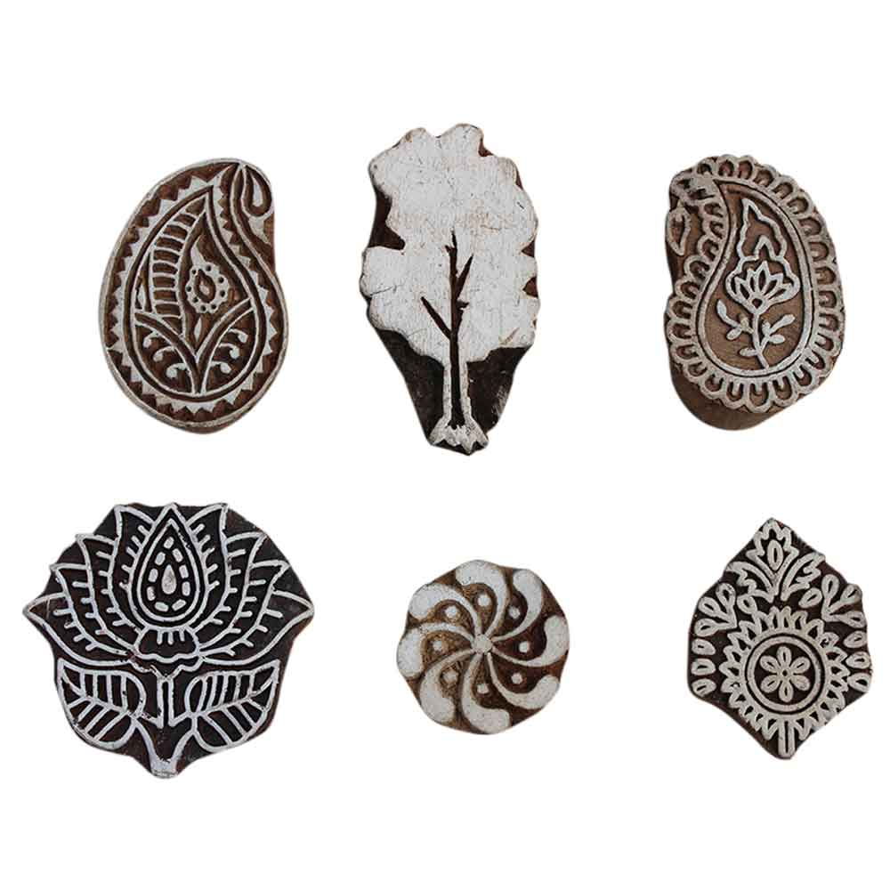 Set of 6 Piece New Mix Wooden Printing Block