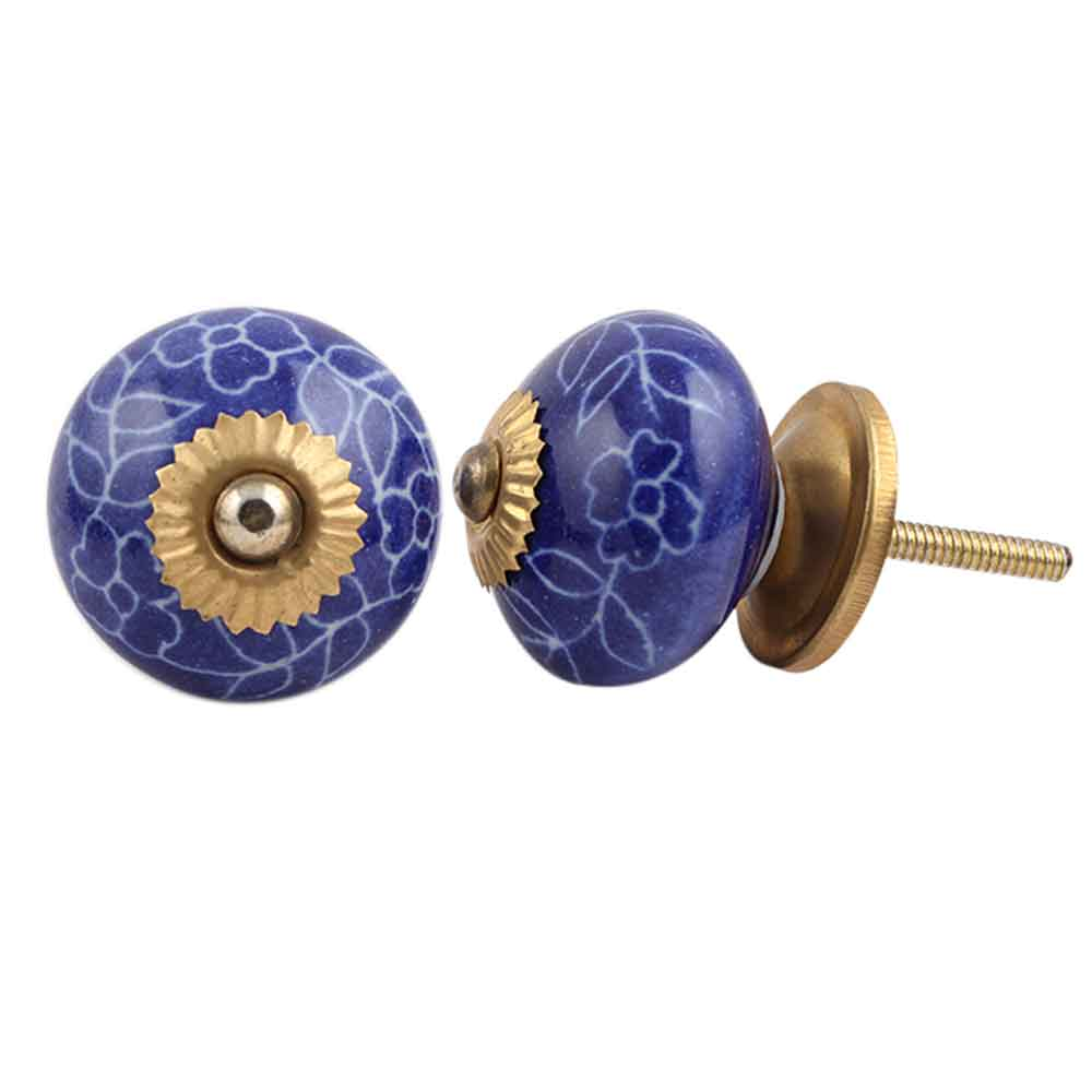 Navy Blue Leaf Floral Ceramic Knob
