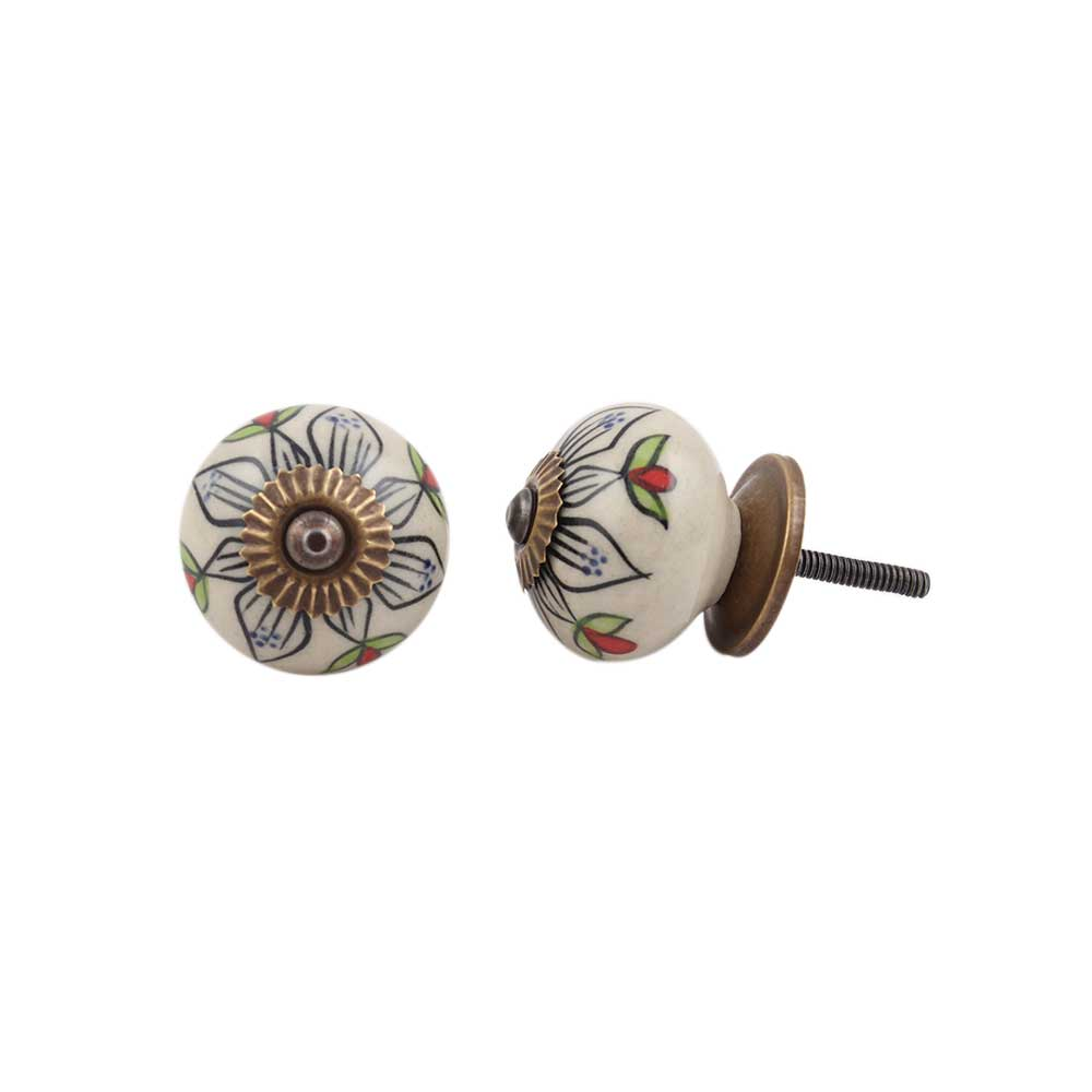 Black Flower Ceramic Cabinet Knob Online