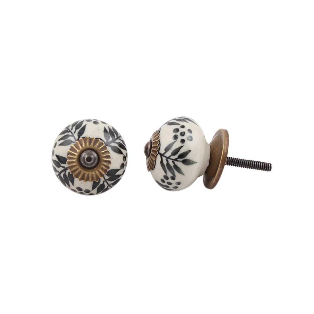 Black Leaf Round Ceramic Drawer Knob Online