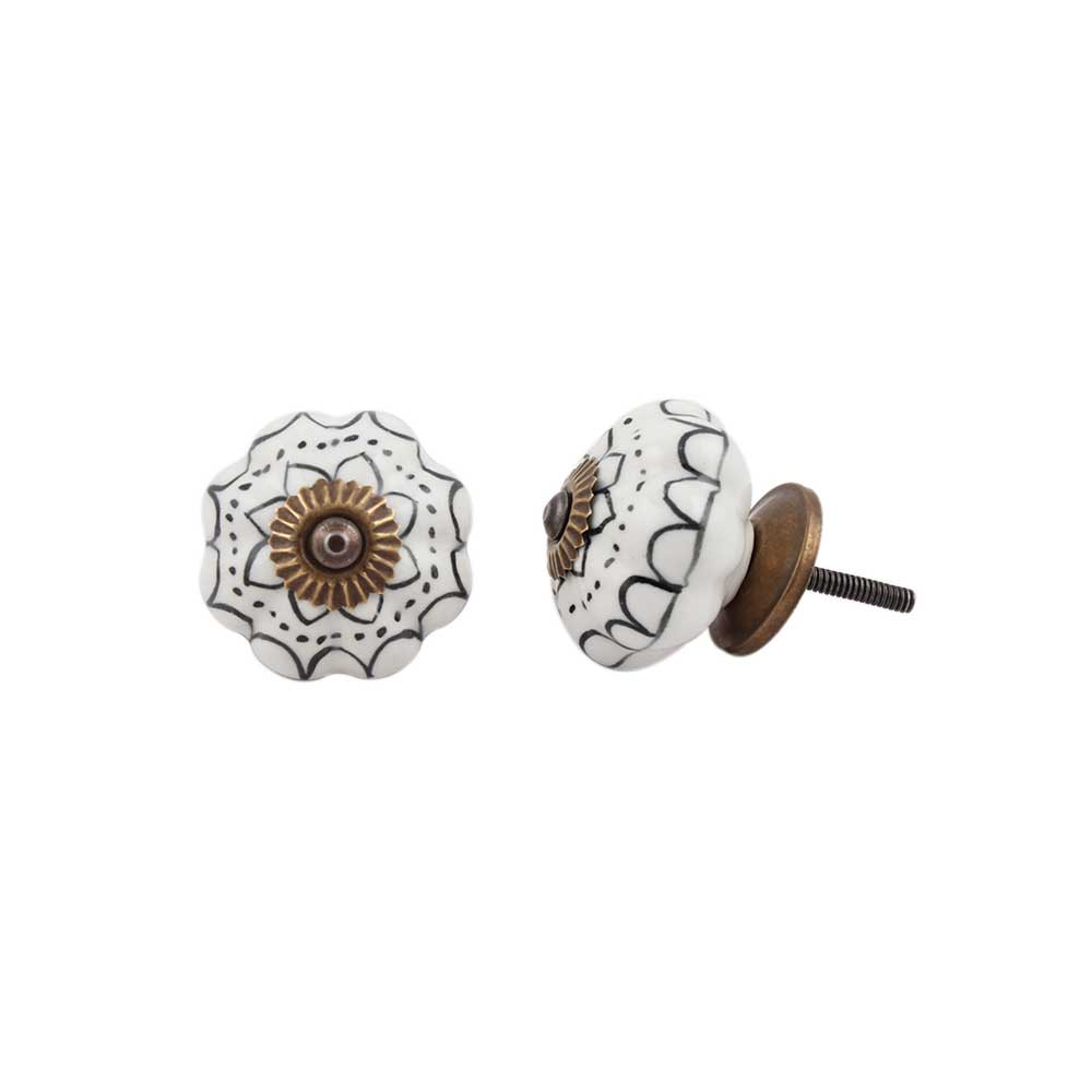 Black Lotus Ceramic Knob