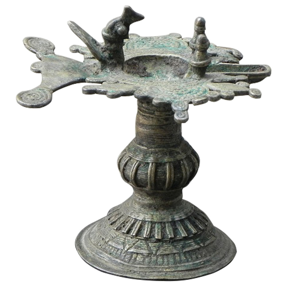 Used Bronze Oil Lamp (Orissa) (Ht-4.5 Inches)