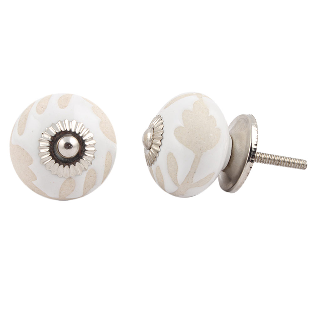 White Etched Ceramic Knob-29
