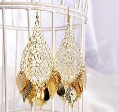 Golden Leaf Drop Designer Women Earrings