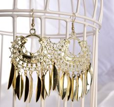 Exaggerated Golden Tassel Fashion Earrings