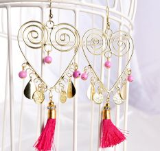 Golden Spiral Heart with Pink Seed Fashion Partywear Earrings