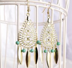 Bohemian Style Green Beads Costume Partywear Earrings