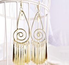 Spiral Hollow Drop Golden Tassel Partywear Earrings