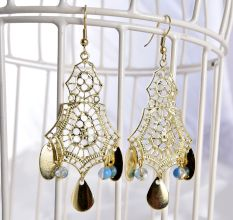 Golden Retro Style Resin Long Fancy Earrings