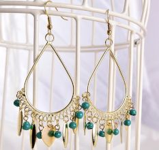 Gold and Blue Bead Fantasy Long Designer Earrings