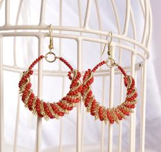 Red Bead Designer Women Earrings in Bali Style