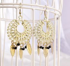 Golden Dream Catcher Drop Dangler Women Designer Earrings
