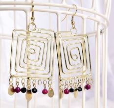 Golden Squared Maze Beautiful Long Earrings