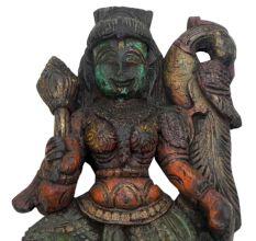 Wooden Parvati Statue-02