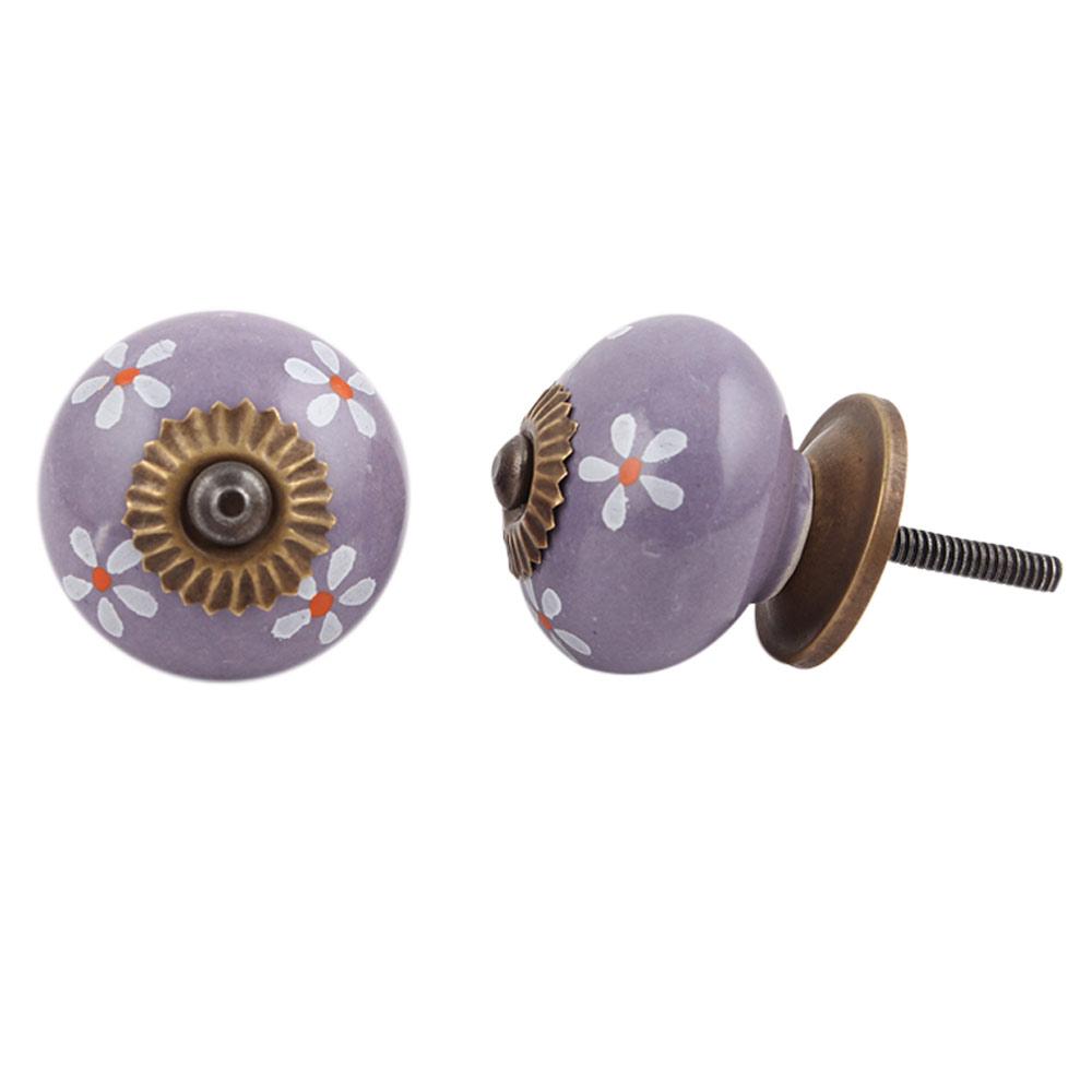 Purple Flower Knob