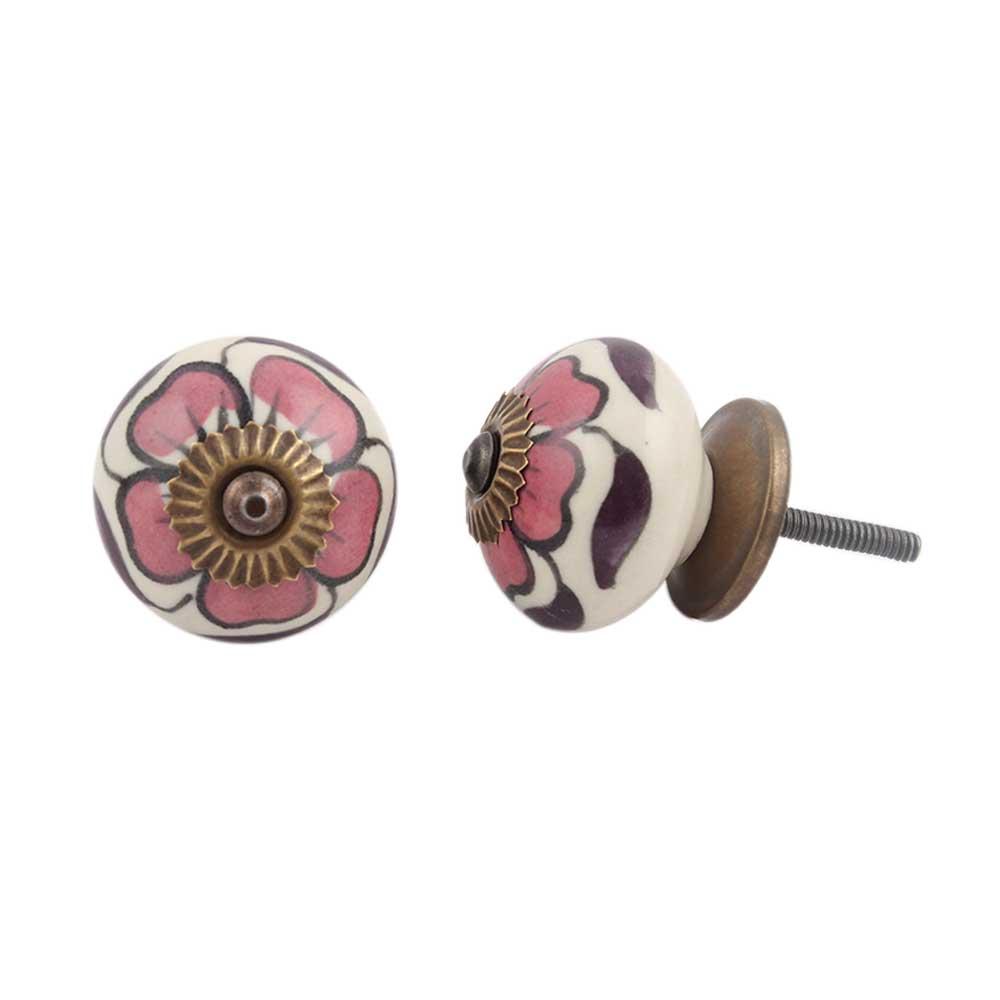 Maroon Flower Knob