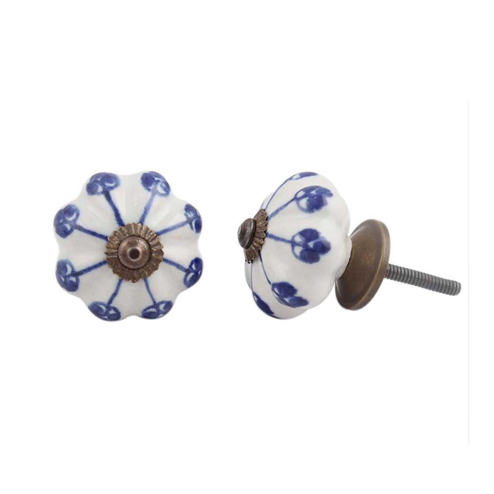 Blue Flower Medium Knob