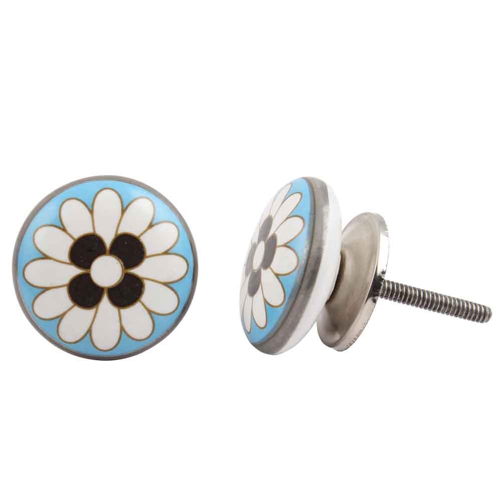 Round Flower Flat Knob
