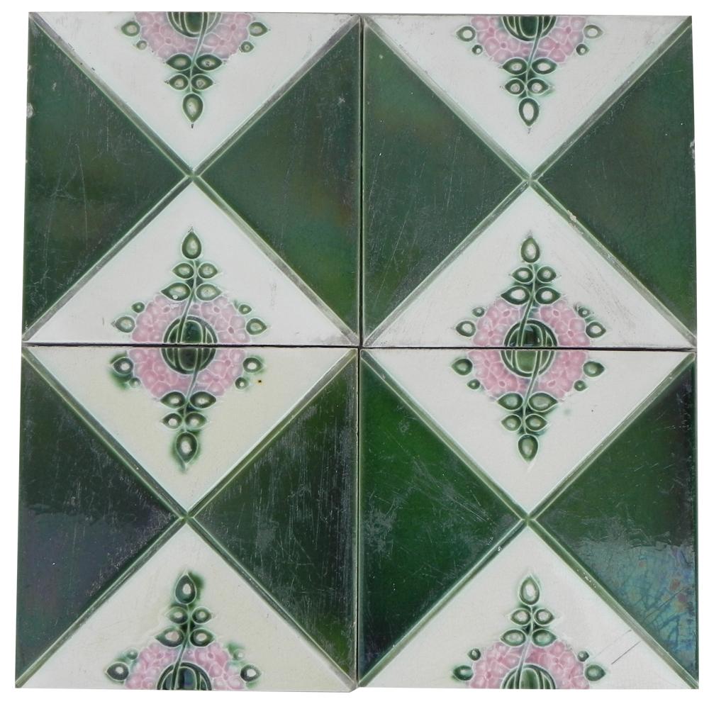 Green Pink Crackle Tile