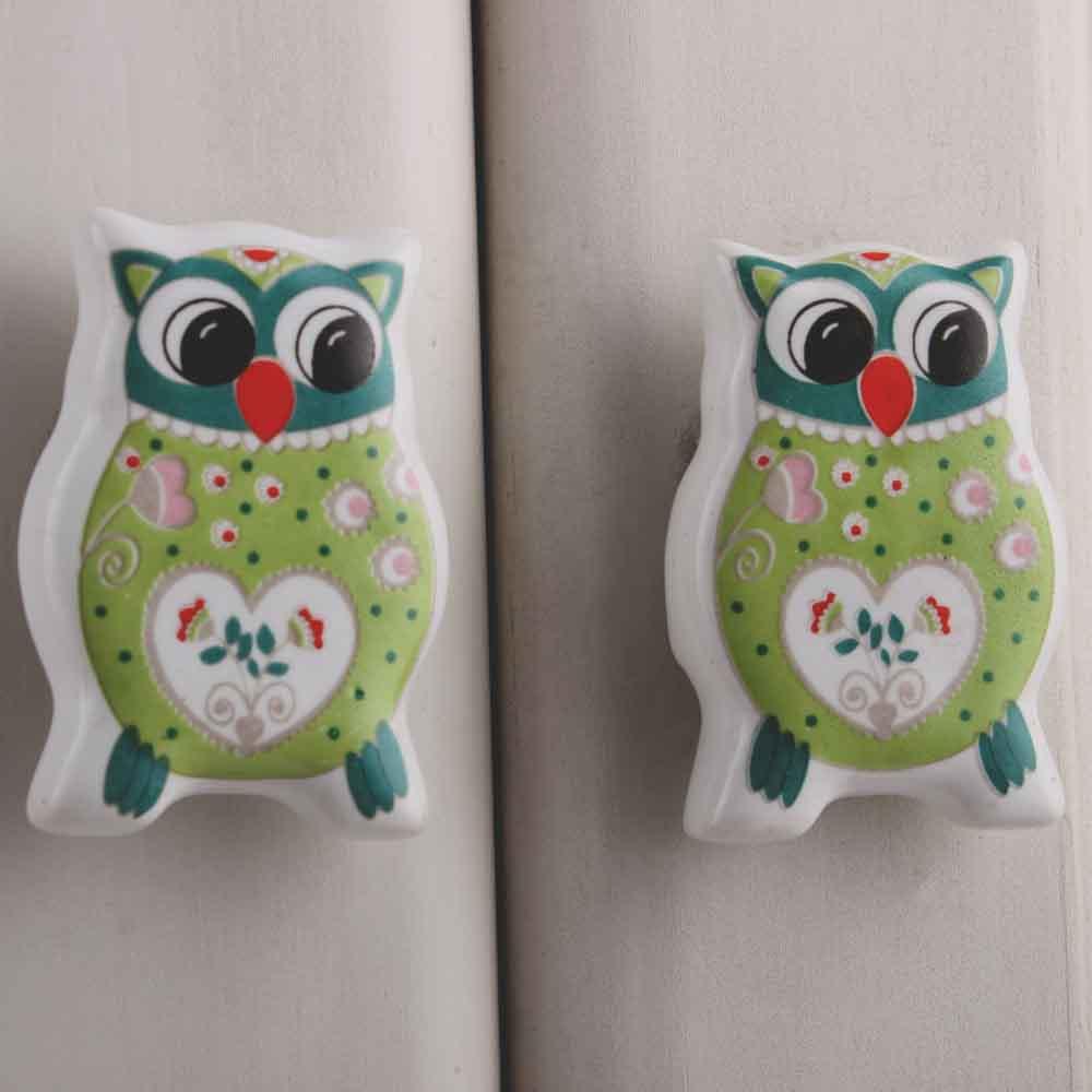 Green Owl Flat Ceramic Knob