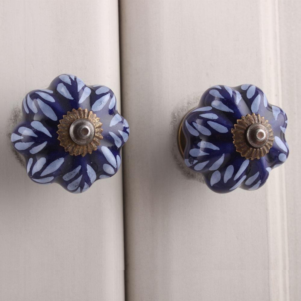 Blue Leaf Medium Cabinet Knob