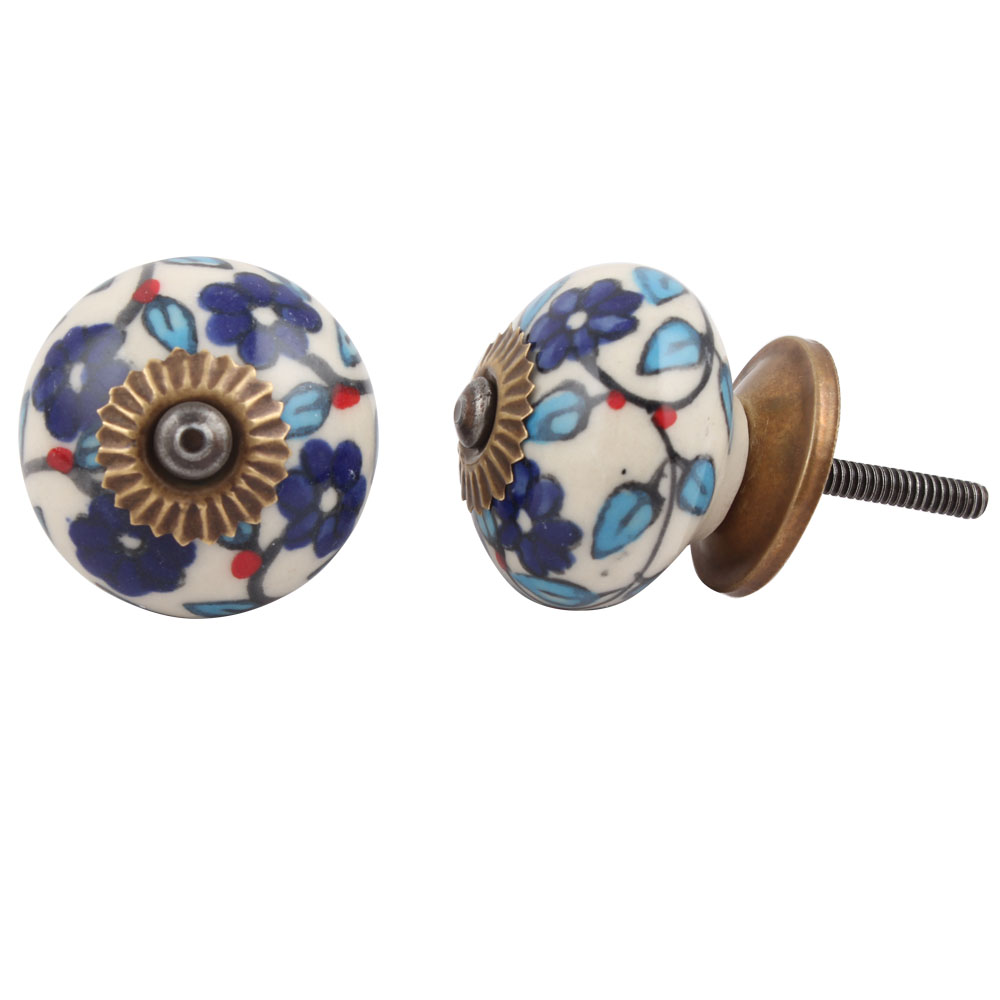 Blue Tiny Flower Leaf Cabinet Knob