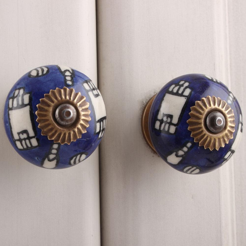 Building Pattern Blue Ceramic Knob