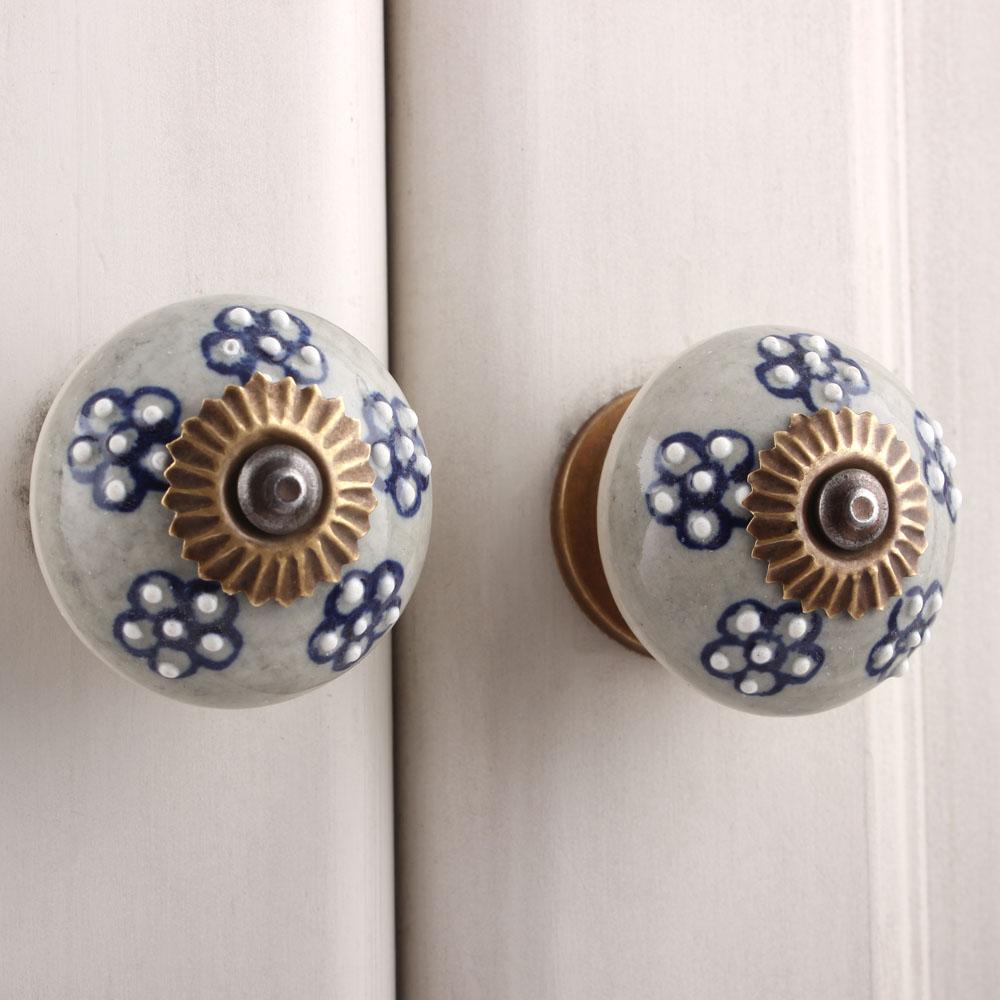 Grey Flower Cabinet Knob
