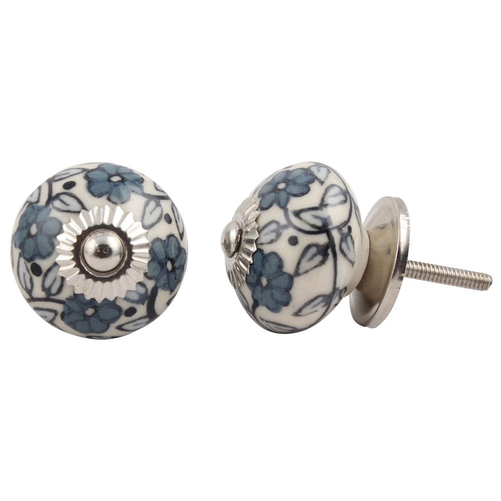Grey Tiny Flower Cabinet Knob