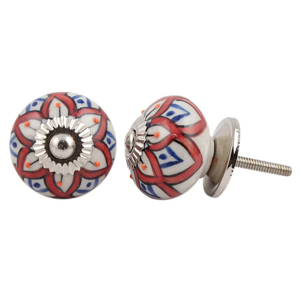 Mixed Floral Ceramic Cabinet Knob