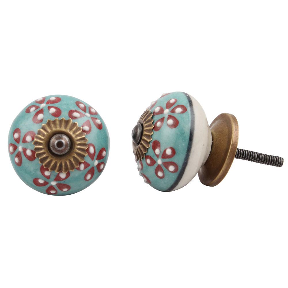 Turquoise Tiny Flower Cabinet Knob