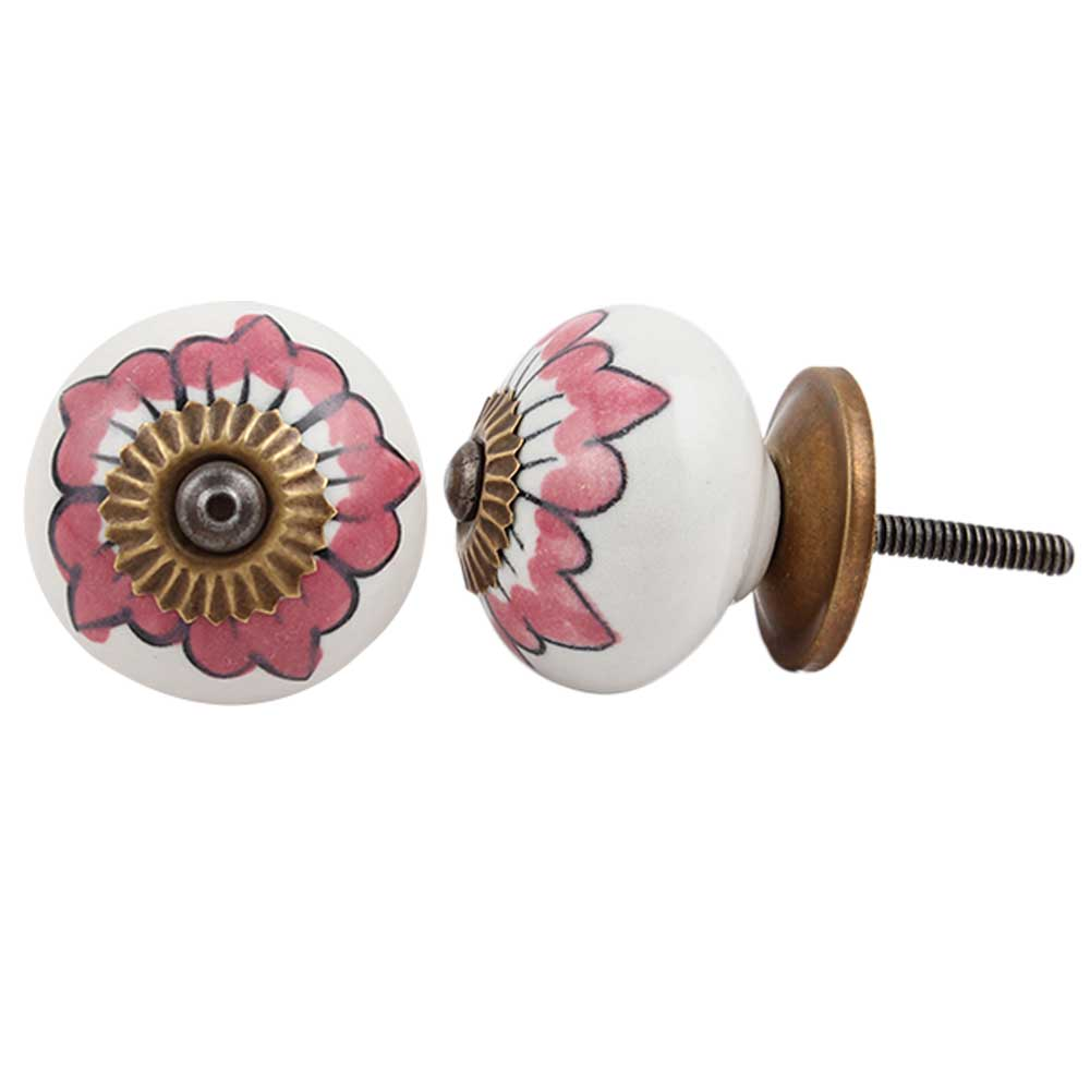 White Pink Floral Cabinet Knob