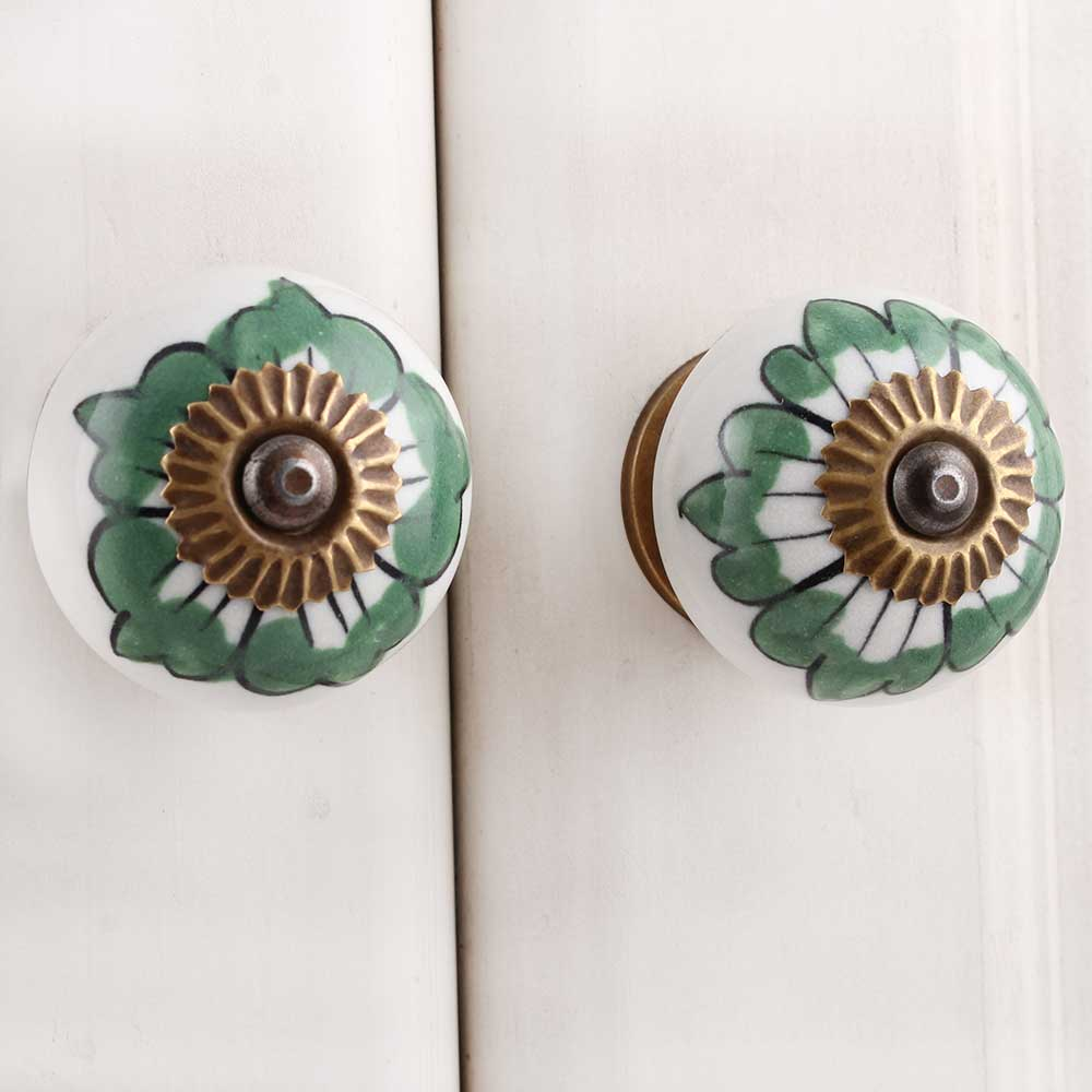 White Green Painted Floral Knob