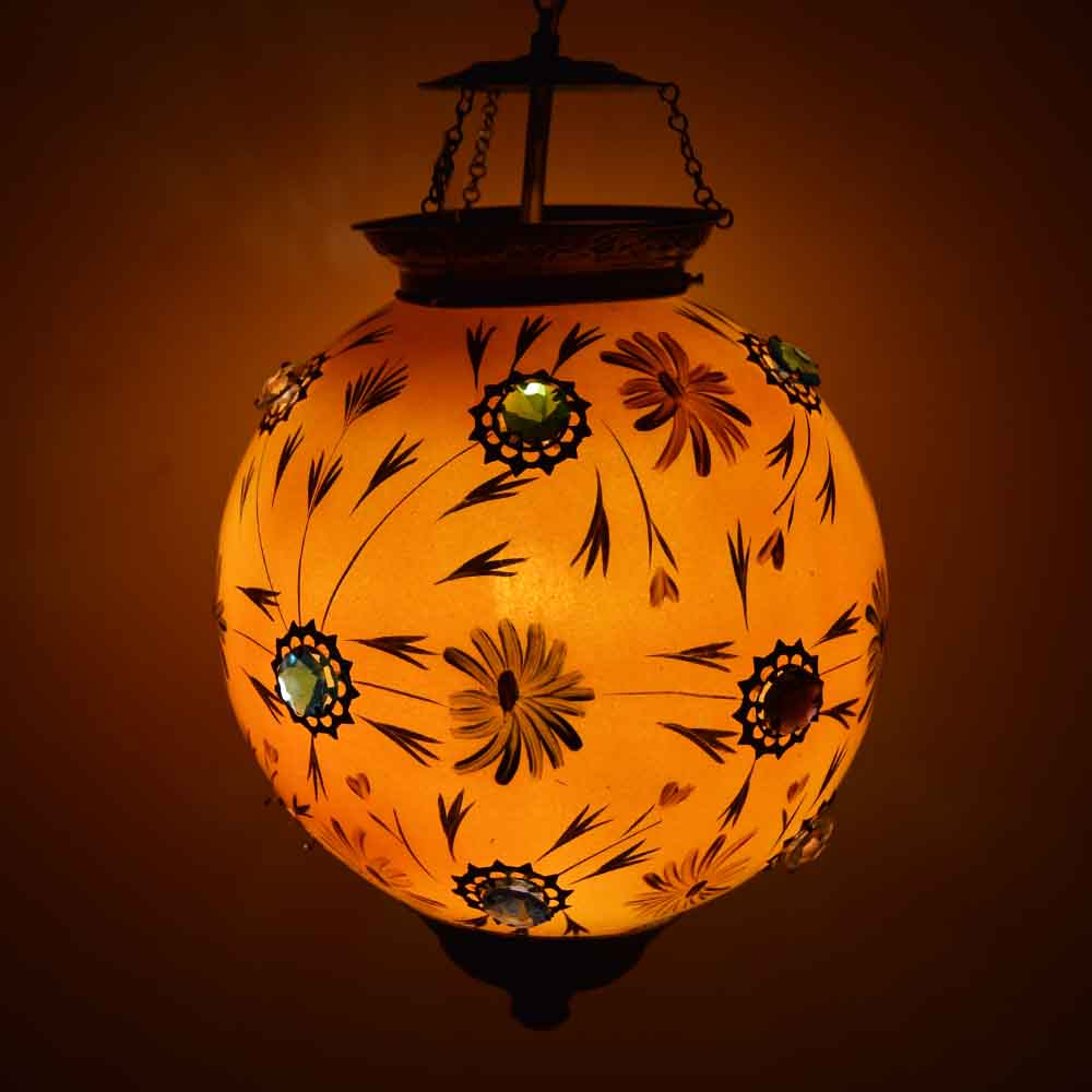 Orange glass hanging globe lamp