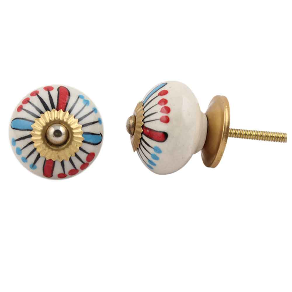 Blue And Red Ceramic Cabinet Knob Online