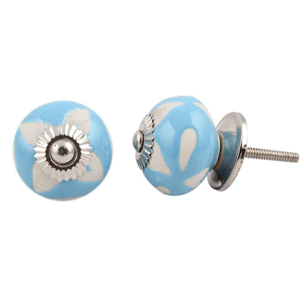 Turquoise Etched Ceramic Knob-33