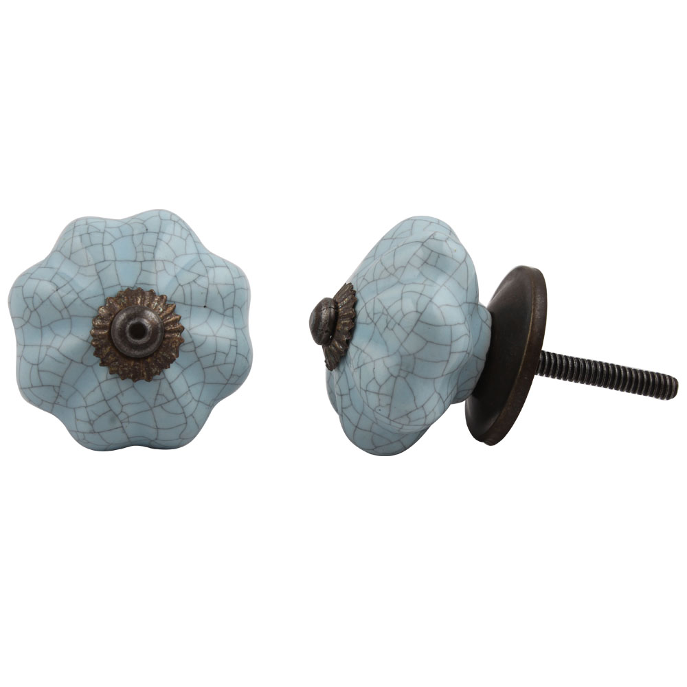 Baby Blue Crackle Cabinet Knob