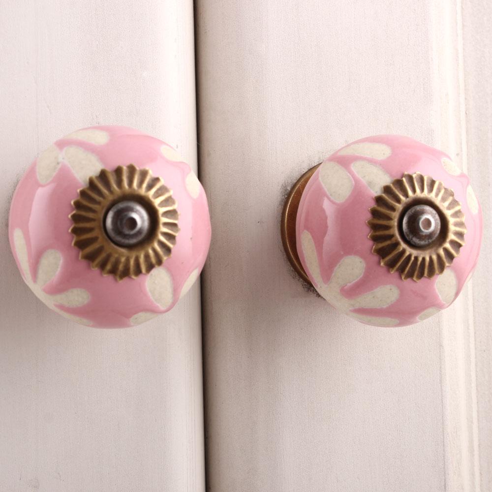 Pink Etched Ceramic Knob 48