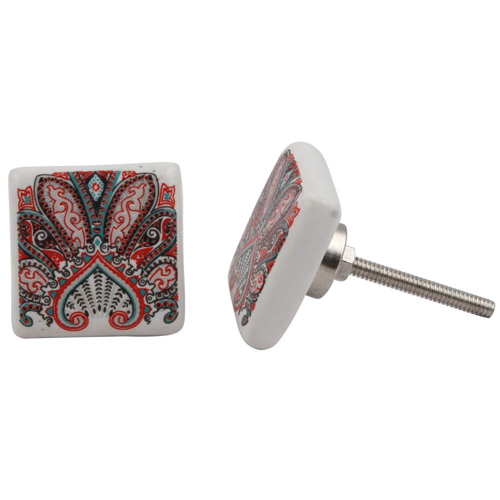 Red Floral Printing Knob